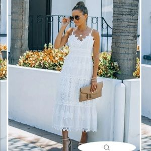Vici Devoted Cotton Lace Eyelet midi dress